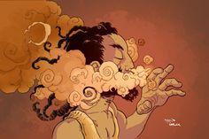smoking marijuana art