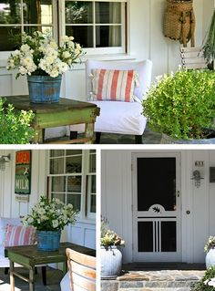a welcoming front porch. my favs here are the old blue bucket & green table