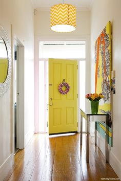 Yellow is a great alternative for creating a cheery welcoming front door. This one is Resene Gorse. Inside Front Doors, Yellow Front Doors, Front Door Colors, House Paint Exterior, Interior And Exterior, Interior Design, Big Doors, Brown House, Yellow Painting