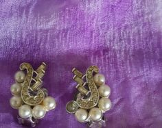 Signed MX Vintage Faux Pearl and Rhinestone Clip On Earrings - 1950 Vintage MX Silver Faux Pearl Rhinestone Earrings-Vintage Costume Jewelry - Edit Listing - Etsy