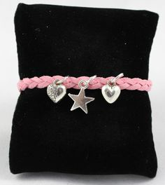 Star & Heart Bracelet With Pink Leather Band