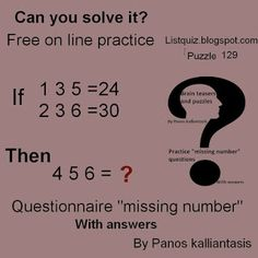 Brain teasers and puzzles: Turn your mind-missing number-puzzle 129 Brain Teasers With Answers, Missing Number, Number Puzzles, Numbers, Mindfulness, This Or That Questions, Beautiful, Collection, Numeracy