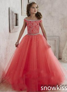 New Princess beading crystals glitz party pageant dress for juniors off the shoulder long tulle ball gowns kids frock design