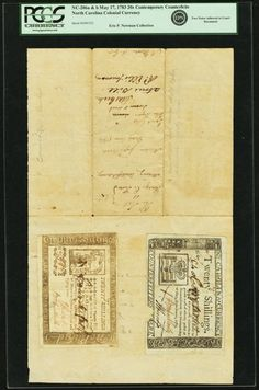 North Carolina May 17, 1783 20 Shillings Contemporary Counterfeit Type Pair mounted to Court Document Fr. NC-206a and NC-206b. PCGS Encapsulated.