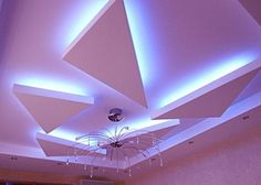 LED ceiling lights, LED strip lighting, false ceiling lighting, false ceiling pop design LED lights is one of the best ideas to get you stylish ceiling decoration and ceiling hidden lighting, these is false ceiling pop design with blue LED lighting ideas Ceiling Light Fixtures, Led Ceiling Lights, Ceiling Beams, False Ceiling Living Room, Bedroom Ceiling, Genius Ideas, Cool Ideas, Hallway Lighting, Strip Lighting
