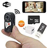 #10: PREMIUM Mini Portable P2P WiFi IP Camera  Bundle 8GB SD CARD  USB Reader. Indoor/Outdoor HD DV Hidden Spy Cam era Video Recorder Security Support iPhone/Android Phone/ iPad /PC Remote View - Shop for digital SLRs (http://amzn.to/2bZ3ZZk) mirrorless cameras (http://amzn.to/2bsCDJs) lenses (http://amzn.to/2bZ35fr) drones (http://amzn.to/2bRmtgx) security cameras (http://amzn.to/2bsBiCG)