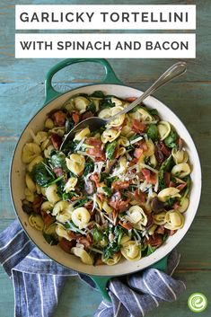 Garlicky Tortellini with Spinach and Bacon with Parmesan-Garlic Rolls from the eMeals Budget Friendly plan One Pot Meals, Easy Meals, Pasta Recipes, Chicken Recipes, Garlic Rolls, Bacon Stuffed Mushrooms, Cheese Tortellini, Grain Foods, Pasta Dishes
