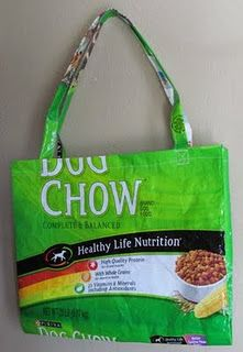 Recycled dog food bags... I was JUST looking at my empty dog food bag, thinking I should do something with it and decided to check Pinterest to see if anyone had and voila! In fact, mine is this exact dog food bag. Ha!