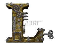 steampunk letra l en el fondo blanco 3d ilustraci n Foto de archivo