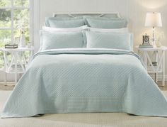 Add elegance to any bedroom with the Josephine Pastel Blue bedspread. Made in a traditional style, this classic, quilted design will suit any bedroom.