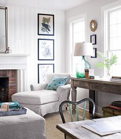 Love the light in this room... Bright yet cozy! Love the lamp, artwork, tables, and chaise lounge