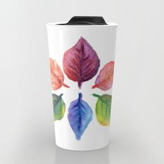 Watercolor Print, Watercolor Paintings, Autumn, Fall, Collage Art, Travel Mug, Aqua, Leaves, Colorful