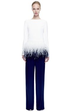 Long Sleeve Blouse With Cascading Ostrich Feather Embroidery by Prabal Gurung for Preorder on Moda Operandi
