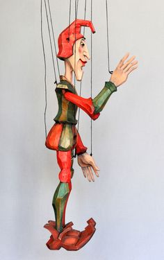Original Wooden Marionettes and Puppets for sale Pinocchio, Clowns, Paper Dolls, Art Dolls, Medieval Jester, Joker Queen, Puppets For Sale, Wooden Puppet, Puppet Toys