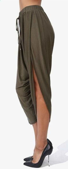 Harem pants- would do a bit more of an overlap for lounging around the house