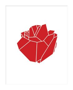 Geometric Rose Print Geometric Rose Poster Red Rose by Woofworld