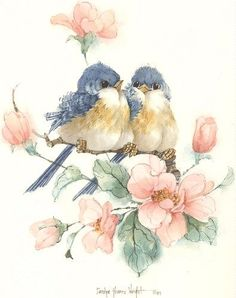 """This 10"""" x 10"""" lithograph is one of many bird pairs painted by Carolyn Shores Wright over the years. This print is one of a pair. Image size is 7.5"""" x 6""""."""