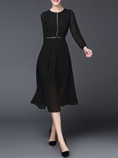 Black Crew Neck Pierced Work Polyester Midi Dress