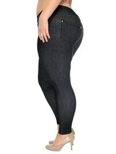 19831dd43d6 Simplicity® Women s Plus Size Denim Style Leggings W  Pockets