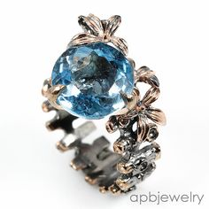Swiss blue 11ct if Natural Blue Topaz 925 Sterling Silver Ring Size 8/R35333 #APBJewelry #Ring
