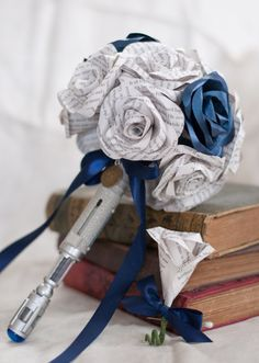 Doctor Who Sonic Screwdriver + Book Page Bouquet with TARDIS Blue Accent Flowers