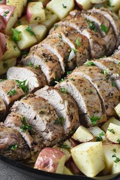 How to cook pork tenderloin, roasted to a juicy perfection in the oven. Easy recipe for a delicious dinner with simple seasonings and potatoes. Pork Loin Recipes Oven, Oven Roasted Pork Tenderloin, Roasted Pork Tenderloins, Pork Chops, Cooking Crab Legs, Cooking Movies, How To Cook Pork, Pork Ribs, Pressure Cooker Recipes