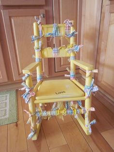Yellow Rag Tied Rocking Chair by ItseeBitsee on Etsy, $130.00