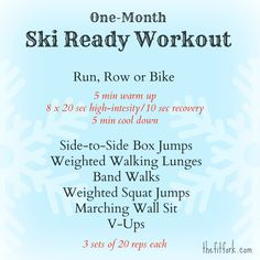 This Ski Ready Workout will have you fit to ski strong and long in 30 days. Run, box jumps, walking lunges, band walks, squat jumps, wall sits, v-ups & more dry land ski and snowboard training exercises