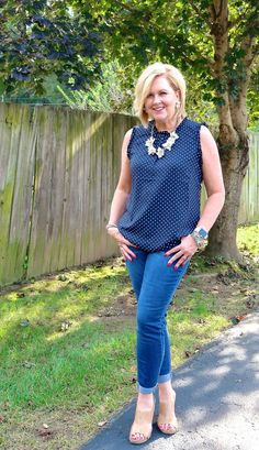 50 is not old polka dots are a fun print fashion over 40 Plus Size Fashion For Women, Womens Fashion For Work, Fashion Tips For Women, 50 Fashion, Fashion Over 40, Fashion Outfits, Fashion Trends, Ladies Fashion, Fashion Ideas