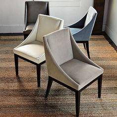 Curved Upholstered Chair #westelm  - could add a few of these in blue or tan to supplement current chairs