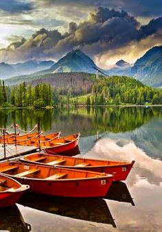 Photo about Boats on lake in Tatra Mountains region, Slovakia. Bratislava, Places Around The World, Around The Worlds, Beautiful World, Beautiful Places, Amazing Places, Heart Of Europe, Voyage Europe, Belle Photo