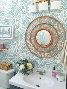 Lisboa Tile Wall Stencils painted by Paige Whalen - Stencils by Royal Design Studio - DIY Decor, Wall Decor, Room Makeover, One Room Challenge