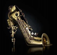Saxaphone shoe with reed heels and bell toes Crazy Shoes, Me Too Shoes, Weird Shoes, Funny Shoes, Or Noir, Shoe Art, Unique Shoes, Beautiful Shoes, Designer Shoes