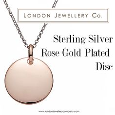 Sterling #Silver Rose #Gold Plated Disc, from the #London #Jewellery Company