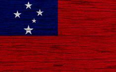 Download wallpapers Flag of Samoa, 4k, Oceania, wooden texture, national symbols, Samoa flag, art, Samoa