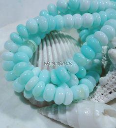 Fine Peruvian Opal Natural Aqua Blue AAA Quality Rondelle Discs Bead Strand 7MM #Spacer