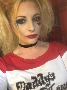 Harley Quinn Joker Suicide Squad Inspiration Makeup Application Younique Tips and Tricks when you click the link. Cream Shadow Mineral Pigment Foundation Opulence Lipstick Excessive Heart Broken Twitter-pated Daddy's Lil Monster  The bolder the better with the red and blue Harley Quinn eye makeup. This look is very simple to achieve. Complete the look with a choker and two high pigtails.