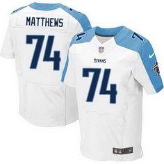 Men's Tennessee Titans #74 Bruce Matthews Nike White Elite Jersey