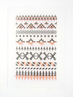Peach and Grey 3D Folded Geometric Aztec Papercut / sarah louise matthews