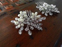 Wedding Hair Comb Set with Ivory Cream Pearls, Swarovski Crystals and Rhinestone Leaves by One World Designs Bridal Jewelry