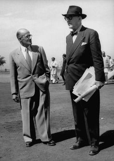 Architects Pierre Jeanneret and Le Corbusier arriving for dedication of Chandigarh new capital city of Punjab which Le Corbusier masterminded and on...
