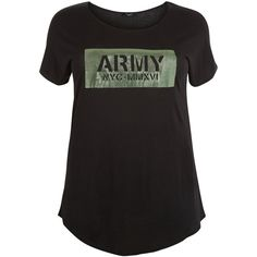 New Look Curves Black Army Print Foil T-Shirt ($14) ❤ liked on Polyvore featuring tops, t-shirts, black, army print t shirt, print tees, army t shirt, army tee and pattern t shirt