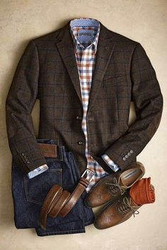 Business casual Menswear- Brown plaid blazer, white, blue and orange shirt with blue jeans and brown shoes and belt