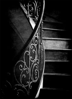 ☾ Midnight Dreams ☽ dreamy & dramatic black and white photography - Palasaides, Joel Lassiter - black stairs with iron railing - beautiful! Black And White Pictures, Black And Grey, Color Black, Foto Picture, Take The Stairs, Shades Of Black, Black Magic, Light And Shadow, Belle Photo