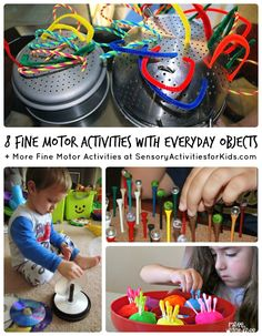 8 Fine Motor Activities with Everyday Objects + Many More at SensoryActivitiesforKids  #kids #finemotor #spd #kbn