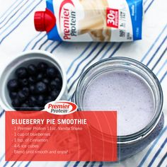 Our delicious Blueberry Pie smoothie is a fun and healthy twist on a classic summer recipe.   Ingredients: 1 Premier Protein 11oz. Vanilla Shake 1 cup of blueberries 1 tsp. of cinnamon 4-6 ice cubes  Blend until smooth and enjoy!