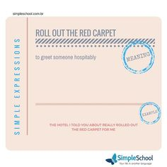 Good Morning!!!! Let's roll out the red carpet for a brand new week guys! Have you all a good one!! #simpleschool #simpleenglish #englishassecondlanguage #learningenglish #idiomas #aprendendo #learning #share #compartilhe #haveagoodday #tenhaumbomdia #simpleexpressions #aprendaingles #rollouttheredcarpet