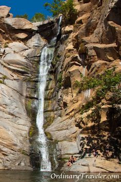 Cedar Creek Falls is San Diego's largest waterfall. The 3-mile hike to the swimming hole is not for the faint of heart. If you go here in the summer, make sure to bring lots of water! punch bowls, devil punch, swimming holes, san diego hike, devils punch bowl, places to go california, places to visit in california, california places, san diego places