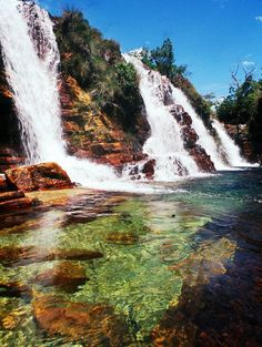 Waterfall on Prata river in Chapada dos Veadeiros national park, Brazil Places Around The World, Oh The Places You'll Go, Places To Travel, Places To Visit, Around The Worlds, Beautiful Waterfalls, Beautiful Landscapes, Wonderful Places, Beautiful Places