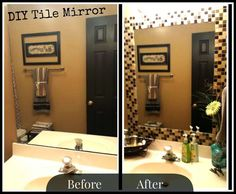 Tile around bathroom mirror